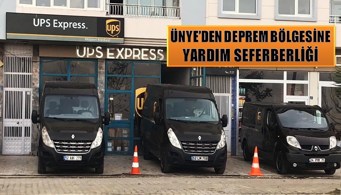 ÜNYE UPS KARGO, ELAZIĞ'A YARDIMLARI ÜCRETSİZ TAŞIYACAK