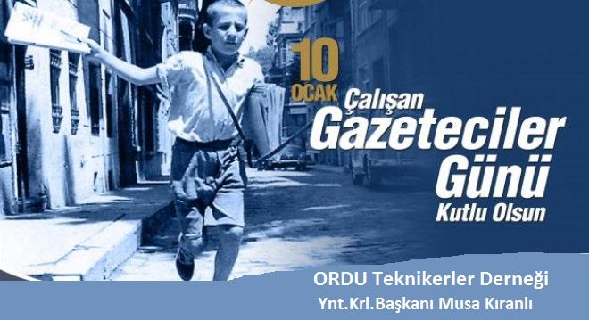 Kıranlı'dan 10 Ocak Çalışan Gazeteciler Günü Mesajı