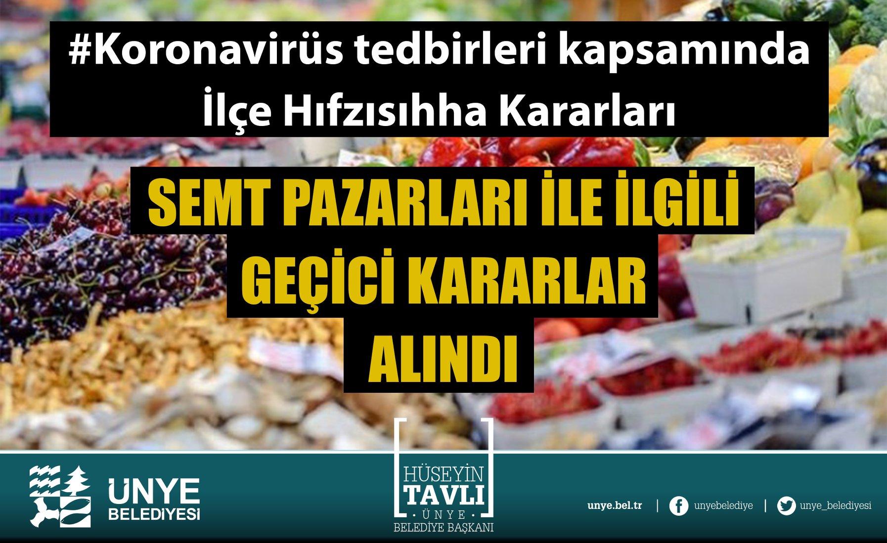 ÜNYE'DE SEMT PAZARLARINA KORONAVİRÜS ENGELİ