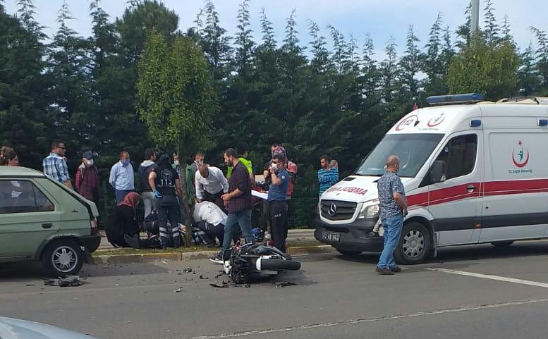 Ünye'de motor kazası
