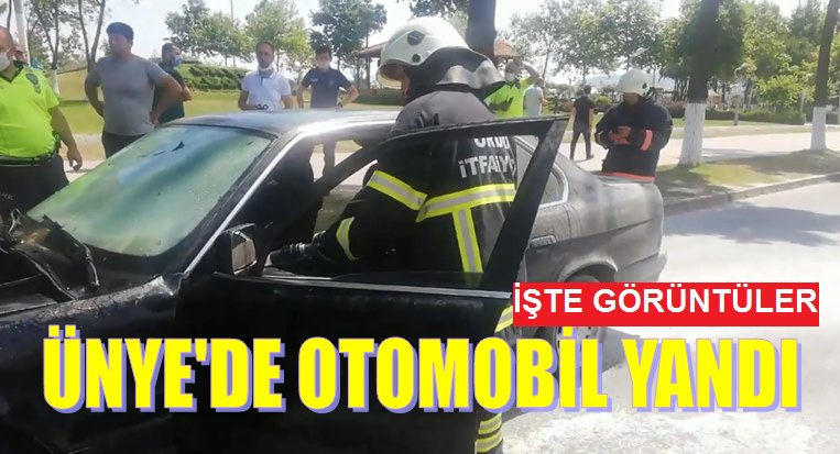 ÜNYE'DE OTOMOBİL YANDI