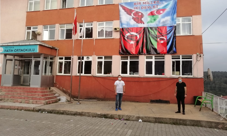 Akkuş Fatih Ortaokulundan Azerbaycan'a Destek