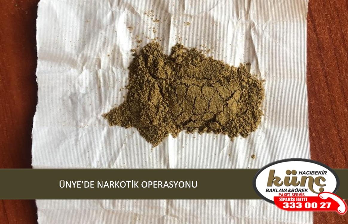 ÜNYE'DE NARKOTİK OPERASYONU